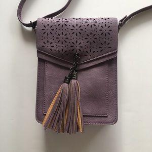 NWOT MINICAT Small Vegan Leather Purple Tassel Bag